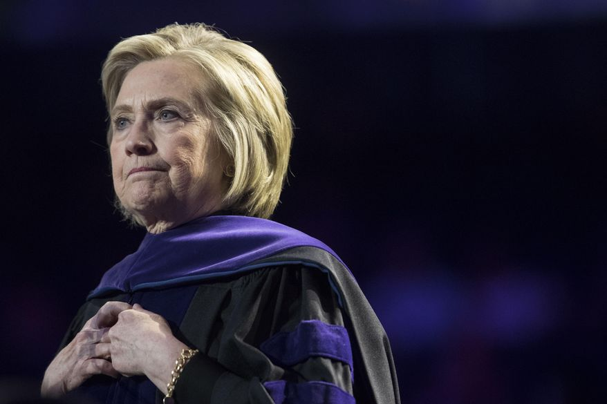 Former Secretary of State Hillary Clinton delivers Hunter College's commencement address, Wednesday, May 29, 2019, in New York. (AP Photo/Mary Altaffer)
