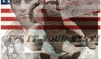 Illustration on Moe Berg by Alexander Hunter/The Washington Times