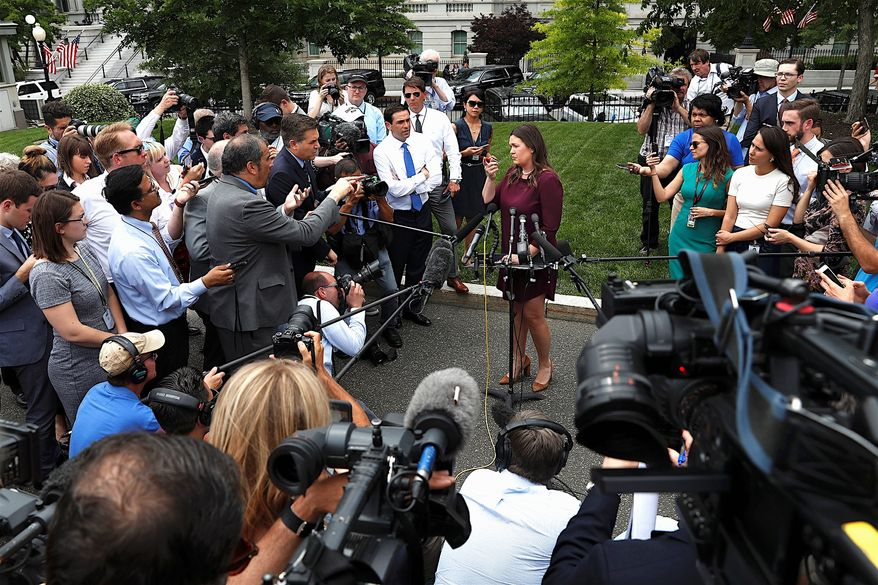 White House press secretary Sarah Huckabee Sanders said that the Mueller investigation confirmed there wasn't any obstruction. (Associated Press)