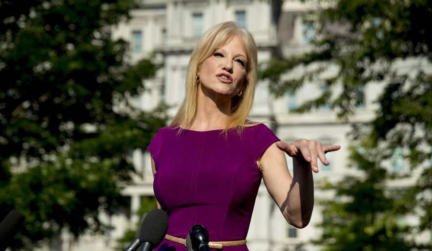 Counselor to the President Kellyanne Conway speaks to reporters outside the West Wing of the White House in Washington, Wednesday, May 29, 2019. (AP Photo/Andrew Harnik)