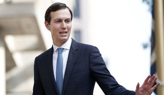 In this Aug. 29, 2018, file photo, White House adviser Jared Kushner waves as he arrives at the Office of the United States Trade Representative in Washington. (AP Photo/Jacquelyn Martin, File)
