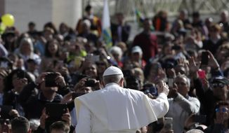 Pope Francis arrives for his weekly general audience, in St. Peter's Square at the Vatican, Wednesday, May 29, 2019. (AP Photo/Alessandra Tarantino)