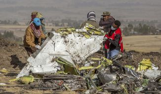 FILE - In this March 11, 2019, file photo, rescuers work at the scene of an Ethiopian Airlines flight crash near Bishoftu, Ethiopia. Pilot Bernd Kai von Hoesslin pleaded with his bosses for more training on the Boeing Max, just weeks before the Ethiopian Airline's jet crashed, killing everyone on board. (AP Photo/Mulugeta Ayene, File)
