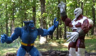 Beast and Caliban battle as part of Hasbro's latest Marvel Legends X-Men action figure collection. (Photograph by Joseph Szadkowski / The Washington Times)