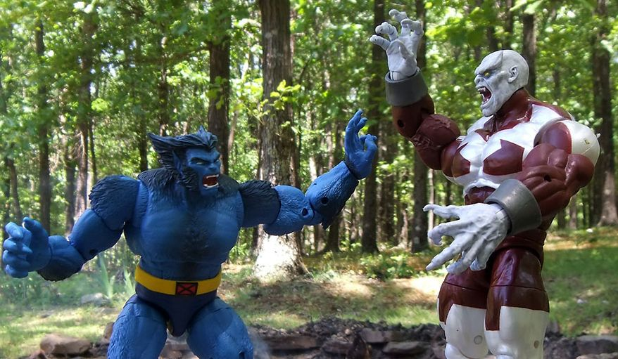 Beast and Caliban battle as part of Hasbro's latest Marvel Legends X-Men action figure collection. (Photograph by Joseph Szadkowski / The Washington Times)