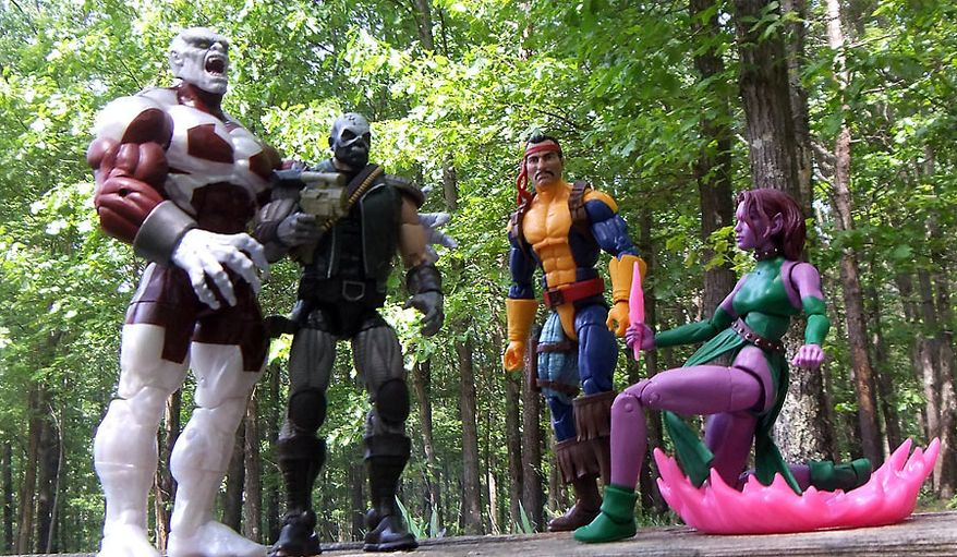 Hasbro's latest Marvel Legends X-Men action figure collection includes Caliban, Skullbuster, Forge and Blink. (Photograph by Joseph Szadkowski / The Washington Times)