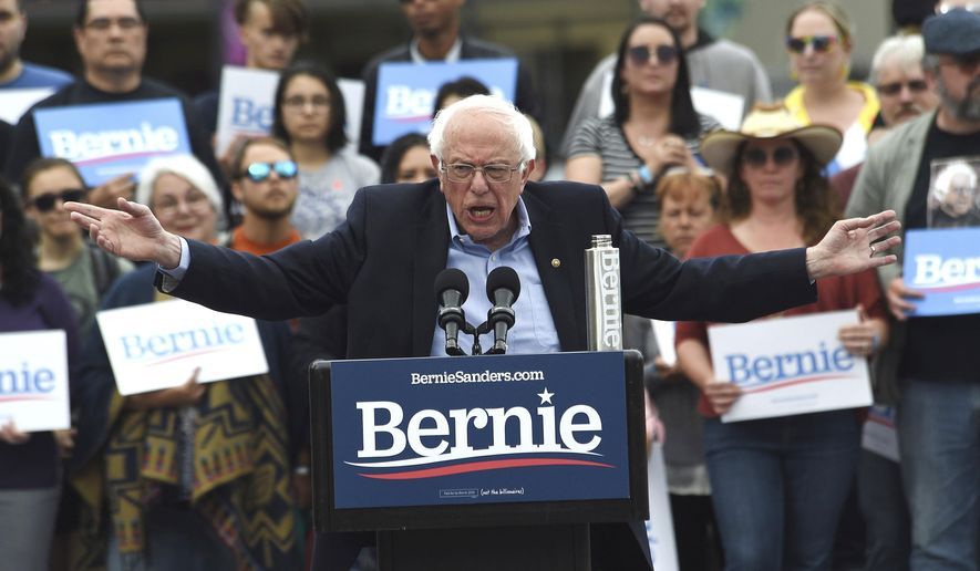 Democratic presidential candidate Sen. Bernie Sanders speaks during a campaign rally at City Plaza in downtown Reno, Nev., Wednesday, May 29, 2019. (Jason Bean/The Reno Gazette-Journal via AP)
