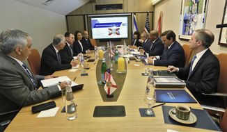 Florida Gov. Ron DeSantis, second from right, meets with representatives of Rafael, a military and defense technologies development firm, during a trade visit to Israel Monday May 27, 2019. DeSantis is leading a delegation on a four-day trade mission to help boost the state's economy and solidify its bonds with Israel.  (Jeff Schweers/Tallahassee Democrat via AP)