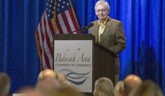 U.S. Senate Majority Leader Mitch McConnell, R-Ky., speaks at the Paducah Chamber luncheon at Walker Hall, Tuesday, May 28, 2019, in Paducah, Ky. (Ellen O'Nan/The Paducah Sun via AP)