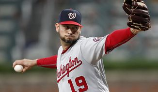 Washington Nationals pitcher Anibal Sanchez works in the fifth inning of a baseball game against the Atlanta Braves Wednesday, May 29, 2019, in Atlanta. (AP Photo/John Bazemore)