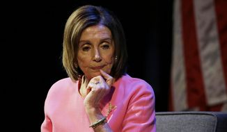 Speaker of the House Nancy Pelosi, D-Calif., listens to a question during an address at the Commonwealth Club Wednesday, May 29, 2019, in San Francisco. Speaker Pelosi spoke in her hometown about Special Counsel Robert Mueller's remarks today, President Trump, the new Congress and the 2020 election. (AP Photo/Eric Risberg)