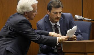 Defense Attorney Daniel Nardoni, left, questions Ashton Kutcher during his tesitimony in the murder trial of Michael Gargiulo in Los Angeles Superior Court, Wednesday, May 29, 2019. Gargiulo, 43, has pleaded not guilty to two counts of murder and an attempted-murder charge stemming from attacks in the Los Angeles area between 2001 and 2008, including the death of Kutcher's former girlfriend, 22-year-old Ashley Ellerin.  (Genaro Molina/Los Angeles Times via AP, Pool)