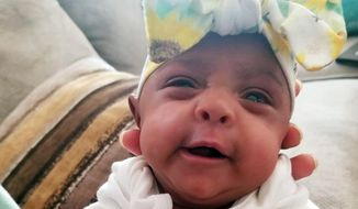 his Tuesday, May 28, 2019, photo provided by Sharp HealthCare in San Diego shows a baby named Saybie. Sharp Mary Birch Hospital for Women & Newborns said in a statement Wednesday, May 29, 2019, that Saybie, born at 23 weeks and three days, is believed to be the world's tiniest surviving baby, who weighed just 245 grams (about 8.6 ounces) before she was discharged as a healthy infant. She was sent home this month weighing 5 pounds (2 kilograms) after nearly five months in the hospital's neonatal intensive care unit. (Sharp HealthCare via AP)