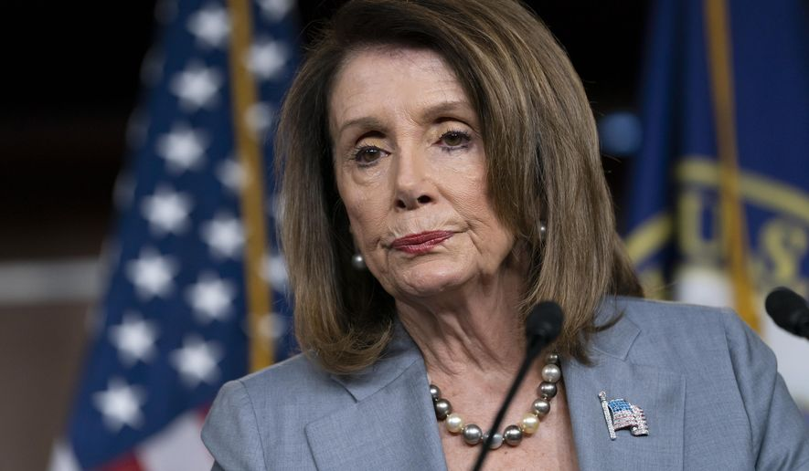 In this May 9, 2019, file photo, Speaker of the House Nancy Pelosi, D-Calif., meets with reporters the day after the House Judiciary Committee voted to hold Attorney General William Barr in contempt of Congress, on Capitol Hill in Washington. (AP Photo/J. Scott Applewhite, file)