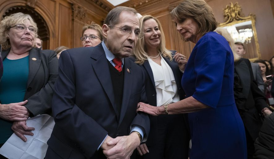 In this Jan. 4, 2019, file photo, Speaker of the House Nancy Pelosi, D-Calif., right, talks with Rep. Jerrold Nadler, D-N.Y., center, chairman of the House Judiciary Committee, at the Capitol in Washington. (AP Photo/J. Scott Applewhite, file) ** FILE **