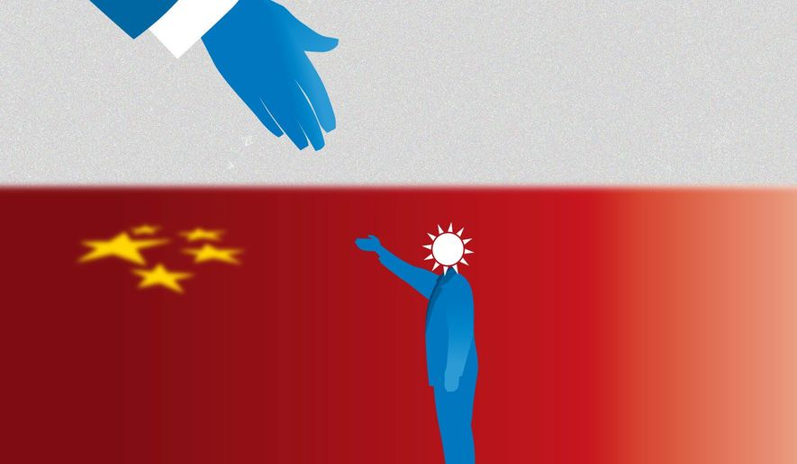 Illustration on relations with Taiwan by Linas Garsys/The Washington Times