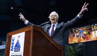 In this Oct. 29, 2014, file photo, Sen. Thad Cochran, R-Miss., responds to the crowd's applause following his short campaign speech at Hobnob, a casual gathering of business people at the Mississippi Coliseum in Jackson, Miss. Seven-term Republican Sen. Thad Cochran, who used seniority to steer billions of dollars to his home state of Mississippi, died Thursday, May 30, 2019. He was 81.  (AP Photo/Rogelio V. Solis, File)