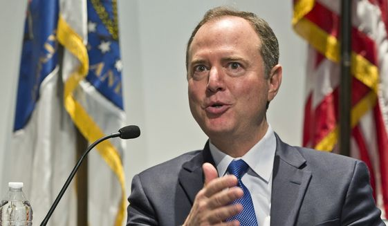 "Rep. Adam Schiff speaks at a conversation session with Los Angeles City Attorney Mike Feuer, titled ""A Constitutional Clash: A Separation of Powers In A Tumultuous Time,"" at Los Angeles Police Headquarters Thursday, May 30, 2019. (AP Photo/Damian Dovarganes) ** FILE **"