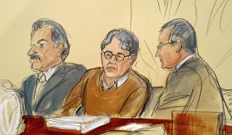 FILE - In this Tuesday, May 7, 2019 file courtroom drawing, defendant Keith Raniere, center, leader of the secretive group NXIVM, is seated between his attorneys Paul DerOhannesian, left, and Marc Agnifilo during the first day of his sex trafficking trial. A former follower of self-help guru Raniere is testifying about how he banished her to a bedroom for two years for breaking his rules to stay away from other men. The woman told jurors at Raniere's New York City trial on Wednesday, May 29, 2019, that her confinement broke her spirit until she got up the nerve to leave the room in 2012. (Elizabeth Williams via AP, File)