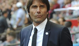 FILE - In this Saturday, May 19, 2018 file photo, Chelsea manager Antonio Conte looks on during their English FA Cup final soccer match against Manchester United at Wembley stadium in London, England. Inter Milan said Thursday, May 30, 2019 that Spalletti has left the club, with Antonio Conte expected to replace him in the next few days. (AP Photo/Rui Vieira, file)
