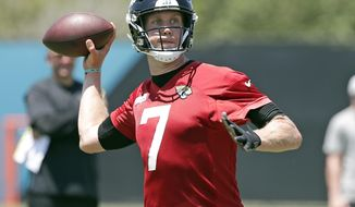 Jacksonville Jaguars quarterback Nick Foles looks for a receiver during an NFL football practice, Thursday, May 30, 2019, in Jacksonville, Fla. (AP Photo/John Raoux)