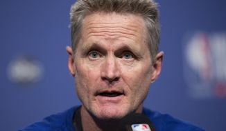 Golden State Warriors basketball head coach Steve Kerr speaks to the media before practice for the NBA Finals against the Toronto Raptors in Toronto, Wednesday, May 29, 2019. Game 1 of the NBA Finals is Thursday in Toronto. (Nathan Denette/The Canadian Press via AP)