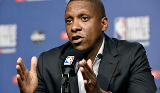 Toronto Raptors basketball team general manager Masai Ujiri speaks during a media availability in Toronto, Wednesday, May 29, 2019. Game 1 of the NBA Finals between the Raptors and Golden State Warriors is Thursday in Toronto. (Frank Gunn/The Canadian Press via AP) ** FILE **