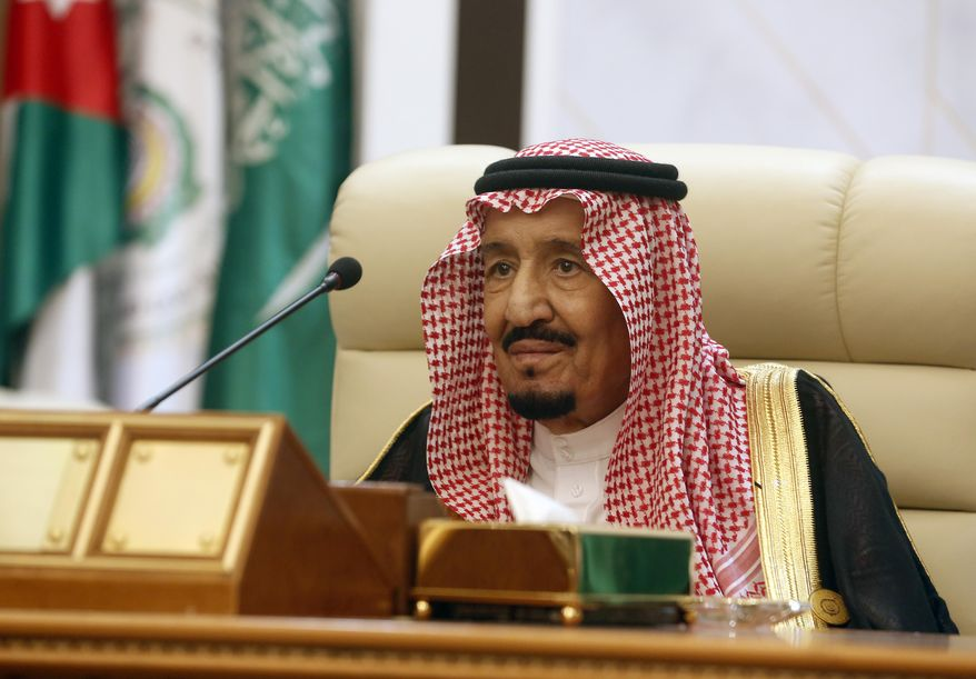 Saudi King Salman chairs an emergency summit of Gulf Arab leaders in Mecca, Saudi Arabia, Thursday, May 30, 2019. King Salman opened an emergency summit of Gulf Arab leaders in the holy city of Mecca on Thursday with a call for the international community to use all means to confront Iran, but he also said the kingdom extends its hand for peace. (AP Photo/Amr Nabil)