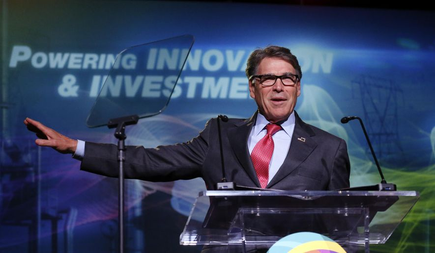 U.S. Energy Secretary Rick Perry speaks at an energy summit hosted by Utah Gov. Gary Herbert and attended by Wyoming Gov. Mark Gordon Thursday, May 30, 2019, in Salt Lake City. (AP Photo/Rick Bowmer) ** FILE **