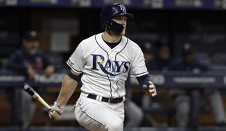 Tampa Bay Rays' Austin Meadows watches his three-run double off Minnesota Twins' Martin Perez during the third inning of a baseball game Thursday, May 30, 2019, in St. Petersburg, Fla. (AP Photo/Chris O'Meara)