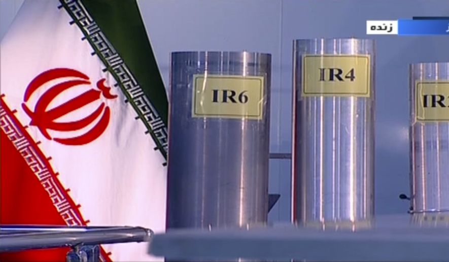 In this June 6, 2018, frame from Islamic Republic Iran Broadcasting, IRIB, state-run TV, three versions of domestically-built centrifuges are shown in a live TV program from Natanz, an Iranian uranium enrichment plant, in Iran.  A report Friday, May 31, 2019, by U.N. nuclear watchdogs said Iran had begun installing IR-6s like the one shown on the left. That raised questions for the first time about its adherence to a key provision of Irans 2015 nuclear deal with world powers that was intended to limit the country's use of advanced centrifuges. (IRIB via AP) **FILE**