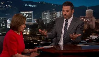 "House Speaker Nancy Pelosi discusses the Trump administration, May 30, 2019. (Image: YouTube, ""Jimmy Kimmel Live"" screenshot)"