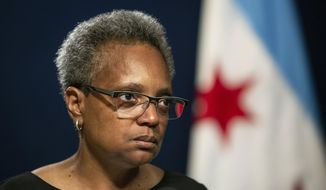 Chicago Mayor Lori Lightfoot holds a press conference at City Hall to address the federal indictment filed against Chicago Alderman Ed Burke and demand he resign immediately, Friday, May 31, 2019, in Chicago. (Ashlee Rezin/Chicago Sun-Times via AP)  ** FILE **