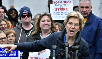 In this April 12, 2019, file photo, Democratic presidential candidate Sen. Elizabeth Warren, D-Mass., speaks after she joined striking Stop & Shop supermarket employees on the picket line in Somerville, Mass. (AP Photo/Josh Reynolds, File)