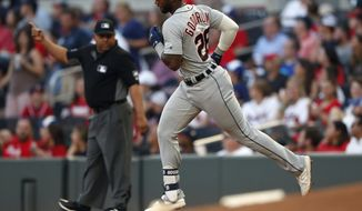 Detroit Tigers' Niko Goodrum rounds the bases after hitting a solo-home run in the third inning of a baseball game against the Atlanta Braves, Friday, May 31, 2019, in Atlanta. (AP Photo/John Bazemore)