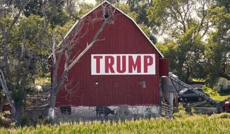 In this July 24, 2018, photo, corn grows in front of a barn carrying a large Trump sign in rural Ashland, Neb. The Trump administration is following through on a plan to allow year-round sales of gasoline mixed with 15% ethanol. The Environmental Protection Agency announced the change Friday, May 31, 2019, ending a summertime ban imposed out of concerns for increased smog from the higher ethanol blend. The change also fulfills a pledge that President Donald Trump made to U.S. corn farmers to allow the higher ethanol sales year-round. (AP Photo/Nati Harnik) **FILE**