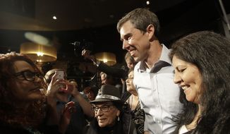 Democratic presidential candidate and former Texas Congressman Beto O'Rourke is greeted after speaking at an SEIU event before the 2019 California Democratic Party State Organizing Convention in San Francisco, Saturday, June 1, 2019. (AP Photo/Jeff Chiu) **FILE**