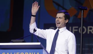 Democratic presidential candidate Pete Buttigieg, the mayor of South Bend, Ind., waves during the 2019 California Democratic Party State Organizing Convention in San Francisco, Saturday, June 1, 2019. (AP Photo/Jeff Chiu)