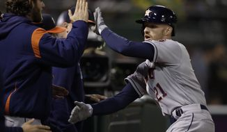 Houston Astros' Derek Fisher, right, is congratulated after hitting a home run off Oakland Athletics' Lou Trivino during the eighth inning of a baseball game Friday, May 31, 2019, in Oakland, Calif. (AP Photo/Ben Margot)