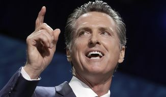 Gov. Gavin Newsom speaks during the 2019 California Democratic Party State Organizing Convention in San Francisco, Saturday, June 1, 2019. (AP Photo/Jeff Chiu) ** FILE **