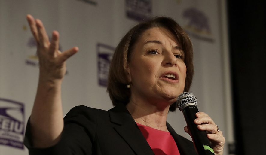 Democratic presidential candidate Sen. Amy Klobuchar, D-Minn., speaks at an SEIU event before the 2019 California Democratic Party State Organizing Convention in San Francisco, Saturday, June 1, 2019. (AP Photo/Jeff Chiu) **FILE**