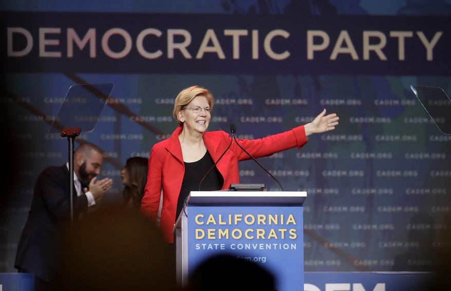 Democratic presidential candidate Sen. Elizabeth Warren, D-Mass., waves before speaking during the 2019 California Democratic Party State Organizing Convention in San Francisco, Saturday, June 1, 2019. (AP Photo/Jeff Chiu)