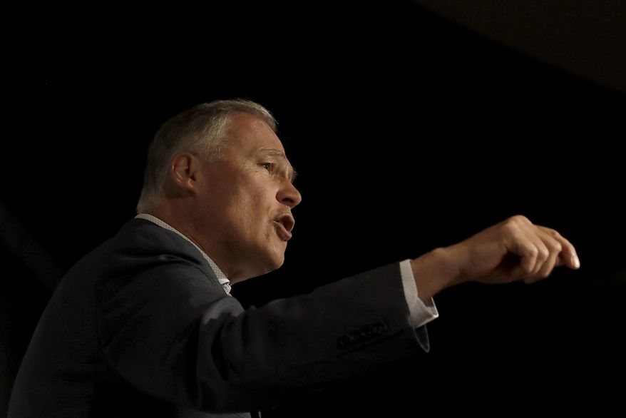 Democratic Presidential candidate Washington Gov. Jay Inslee speaks at an SEIU event before the 2019 California Democratic Party State Organizing Convention in San Francisco, Saturday, June 1, 2019. (AP Photo/Jeff Chiu)