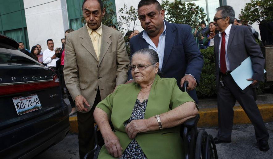 "Consuelo Loera, mother of Mexican drug lord Joaquin ""El Chapo"" Guzman, arrives to the U.S. Embassy in Mexico City, Mexico, Saturday, June 1, 2019. Loera was granted a visa so she can visit her son in prison. (AP Photo/Ginnette Riquelme)"