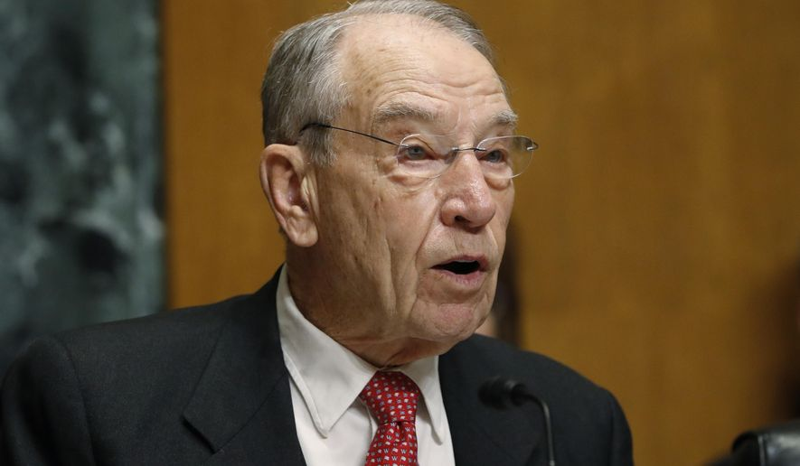 This Feb. 26, 2019, file photo shows Sen. Chuck Grassley, R-Iowa, chairman of the Senate Finance Committee, on Capitol Hill in Washington. (AP Photo/Jacquelyn Martin, File)