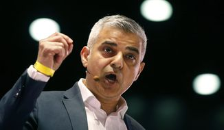 In this Thursday, April 28, 2016, file photo, Sadiq Khan speaks during an assembly at the London Mayor election event of London Citizens in London. (AP Photo/Frank Augstein, file)