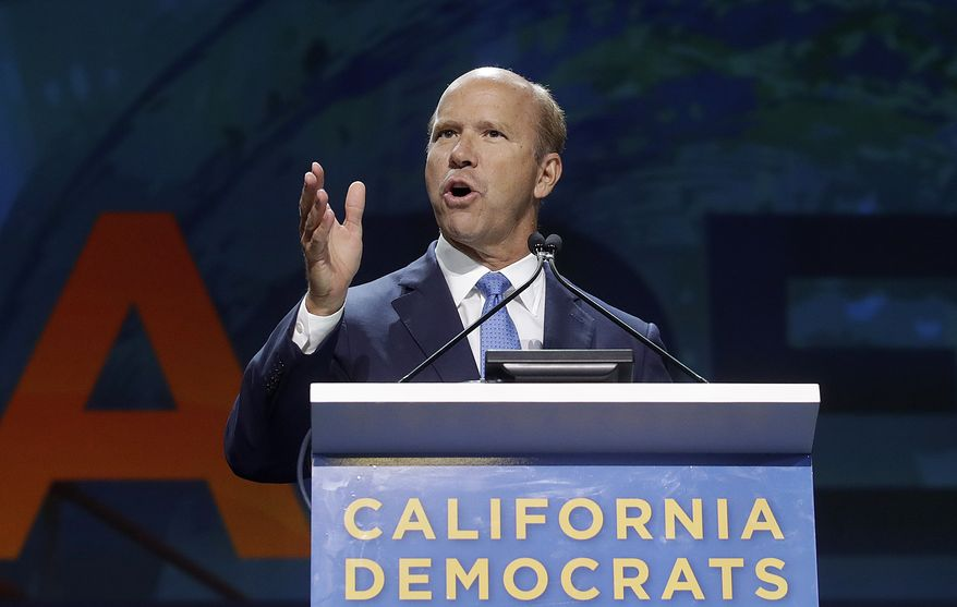 Democratic presidential candidate Rep. John Delaney, D-Md., speaks during the 2019 California Democratic Party State Organizing Convention in San Francisco, Sunday, June 2, 2019. (AP Photo/Jeff Chiu)
