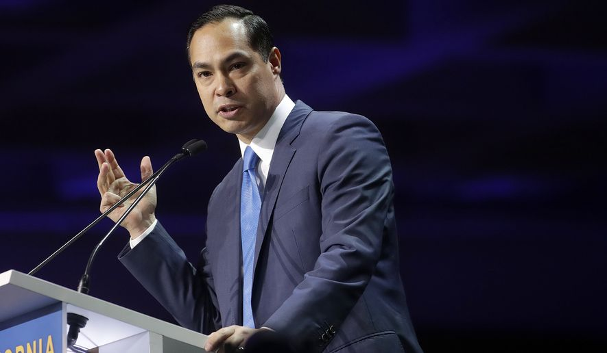 """""""What that means is that just because a woman — or let's also not forget someone in the trans community, a trans female — is poor, doesn't mean they shouldn't have the right to exercise that right to choose,"""" Julian Castro said. (Associated Press)"""
