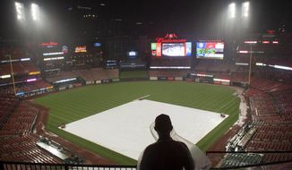 A St. Louis Cardinals fan watches from the stands during a rain delay in the fifth inning of a baseball game against the Chicago Cubs, Saturday, June 1, 2019, in St. Louis. (AP Photo/L.G. Patterson)