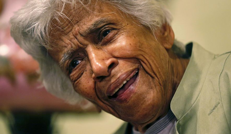 FILE - In this Dec. 30, 2015, file photo, Leah Chase speaks during an interview with the Associated Press at her family's restaurant, Dooky Chase's Restaurant, in New Orleans. The legendary New Orleans chef and civil rights icon Leah Chase has died at 96, according to a statement her family released to news outlets. (AP Photo/Gerald Herbert, File)